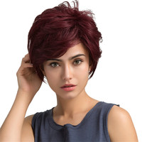 Women's Fashion Short Wig Real Remy Human Hair Topper Toupee Clip Hairpiece Lace Top Wig0928