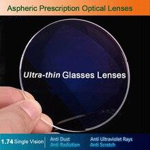 Lentes óticas da prescrição dos vidros da única visão 1.74 para a miopia/hyperopia/presbiopia óculos CR 39 lente da resina com revestimento