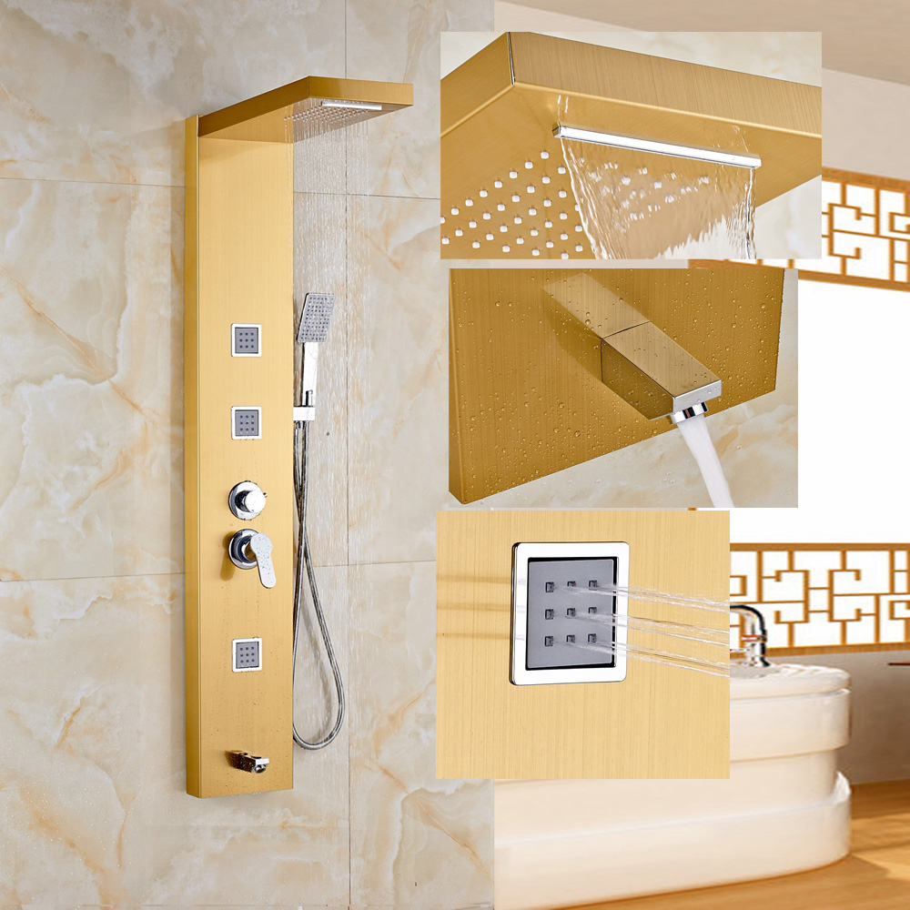 Golden Wall Mounted 1 Handle Shower Column Jets Tub Spout