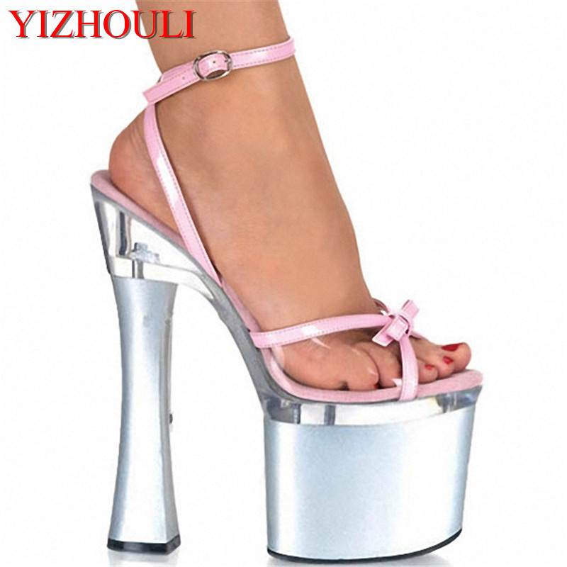 Shining Silver 18CM Sexy Super High Heel 7 inch Platforms Pole Dance sandals Star Model Shoes sexy Wedding Shoes big size ankle strap 18cm thick high heel platforms pole dance shoes star model shoes sandals party wedding shoes 3 colours