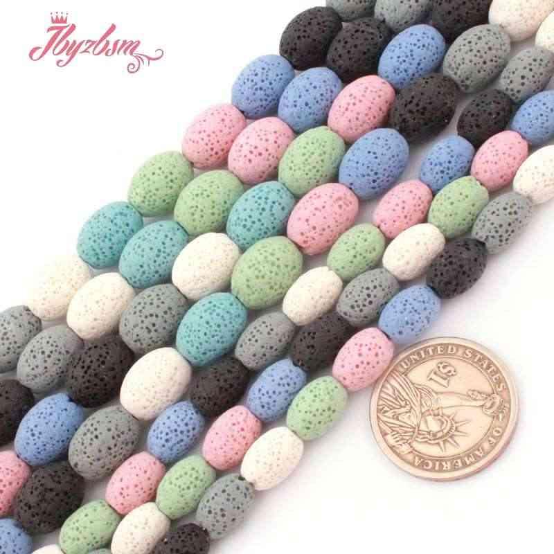 """8x12,10x14mm Olivar Multicolor cuentas de roca de Lava cuentas de piedra Natural para DIY collar pulseras fabricación de joyas 15 """"envío gratis"""