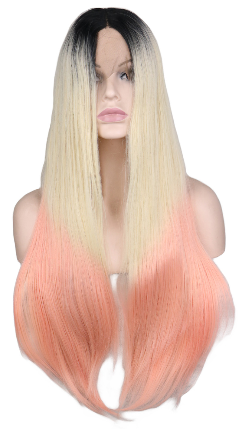 QQXCAIW Handmade Lace Front Wig For Women Black Roots Glueless Ombre Black To Blonde To Pink Heat Resistant Synthetic Hair Wigs