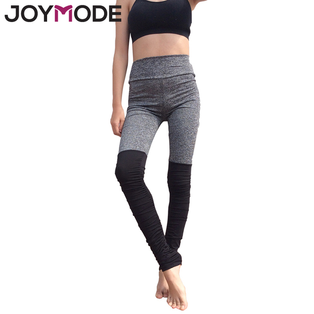 ac2455c107 JOYMODE Women Yoga Pants Sports Exercise Tights Fitness Running Jogging  Trousers Slim Ruffle Patchwork Black Grey Sexy Pants -F
