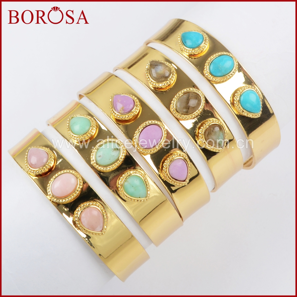 BOROSA Gold Color Bezel Oval Teardrop Shape Three Multi Kind Stones Gems Bangle,Fashion Howlite Sugilite Bangle for Women ZG0233