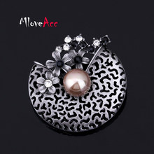 933f5c104 MloveAcc Antique Finish Flower Creative Filigree Cap Simulated Pearl Brooch  For Women Vintage Brooches & Pins Scarf Jewelry