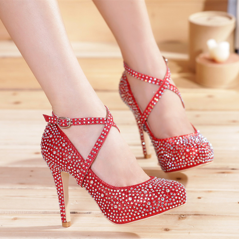 Wedding Shoes Female Silver Red High Heels Crystal Gold Bridal Rhinestone Strap Party Prom Pumps Girl Free Shipping In Womens From On