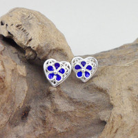 Blue Hearts Stud Earrings Handmade Ethnic Miao Jewelry Real 999 Sterling Silver Cloisonne Enamel Studs Earing China Air Express