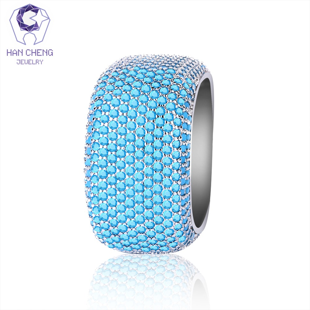 HanCheng New Fashion Luxury Multi Color Hollow Big Gem Stone Silver Statement Ring Cubic Zircon Rings For Women Jewelry Bijoux