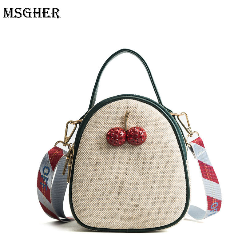M.S Cherry Appliques Mini Zipper Straw Bags Women Totes Panelled Cute Woven Handbags Striped Letter Strap Hot Shoulder Bag SW049