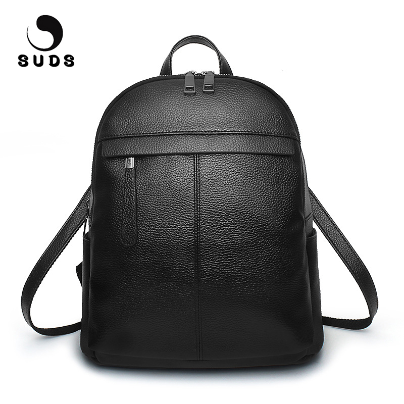 SUDS Brand Backpack Women Casual PU Leather Backpack High Quality School Bag For Teenagers Girls Solid Travel Bag Mochilas Mujer