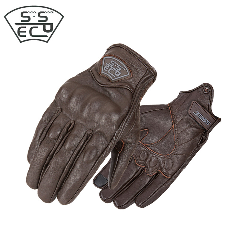 Brand New SSPEC Men Motorcycle Gloves Leather Touch Screen Durable Moto Gloves Vintage Motocross Motorbike Racing Gloves Retro