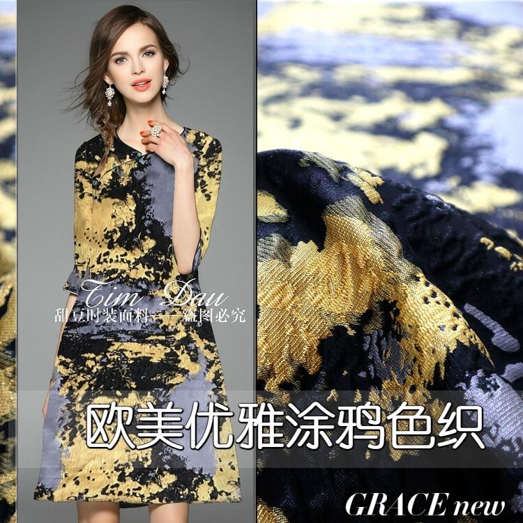 2017 autumn and winter big graffiti yarn dyed jacquard fabric high grade dress skirt coat windbreaker