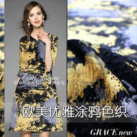 2017 autumn and winter big graffiti yarn - dyed jacquard fabric high - grade dress skirt coat windbreaker clothing fabrics