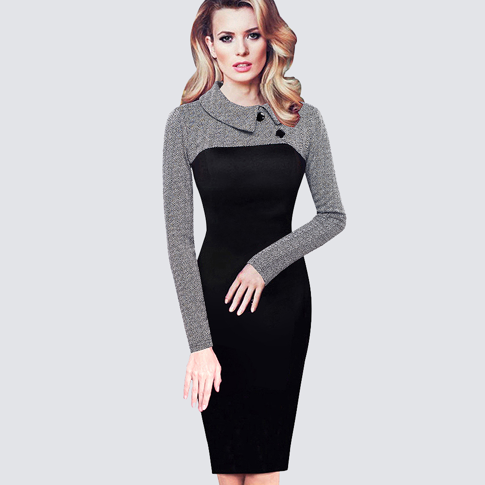 Vintage Women Knitting Patchwork Dress Elegant Work Office Business Sheath Bodycon Մատիտ զգեստ B238