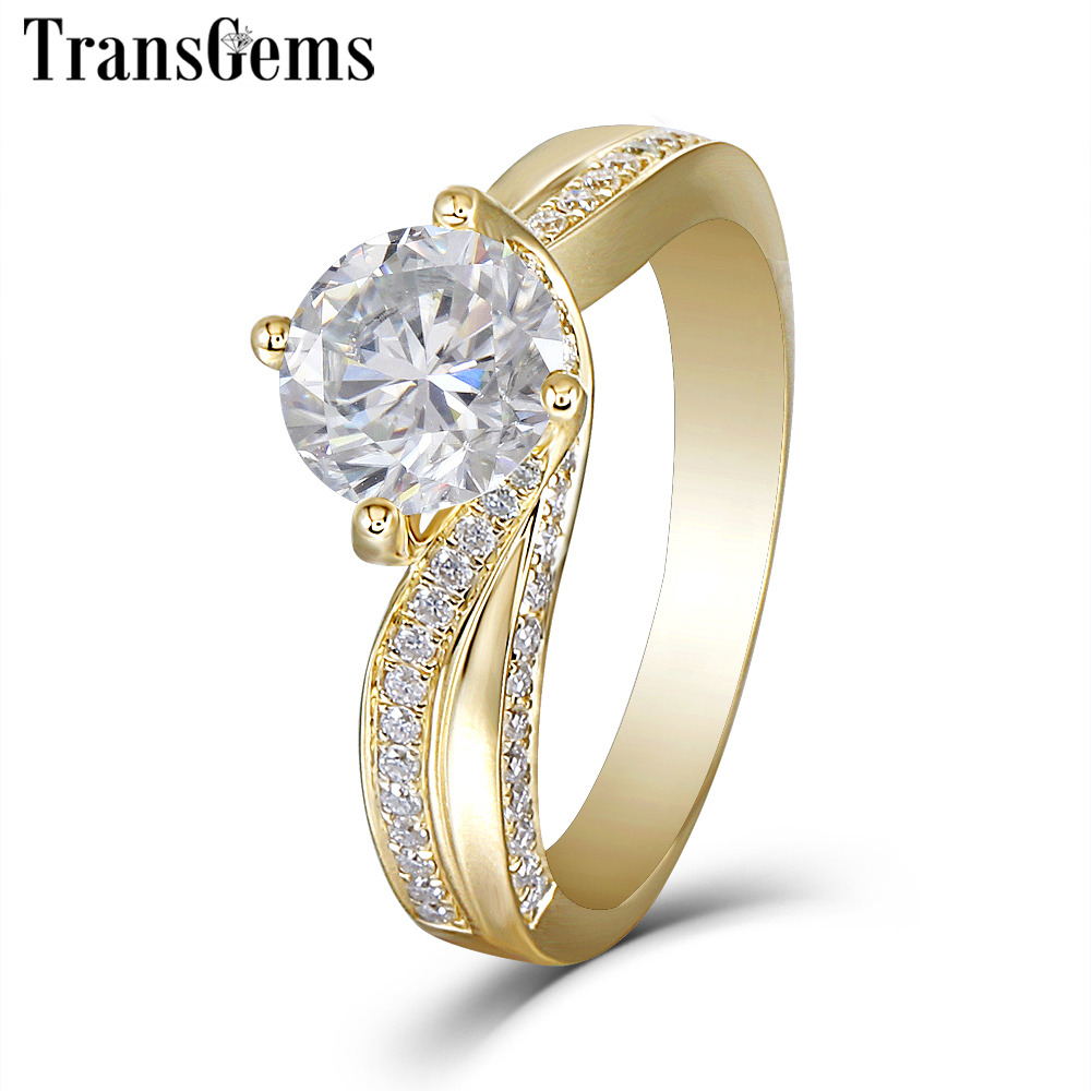 Transgems 14K 585 Yellow Gold Center 1 5ct 7 5mm F Color Moissanite Engagement Ring for