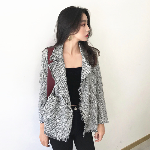 High Quality Women Fashion Spring 2019 Vintage Tassel Tweed Blazer Elegant Double Breasted Long Sleeve Jacket Black Red C224