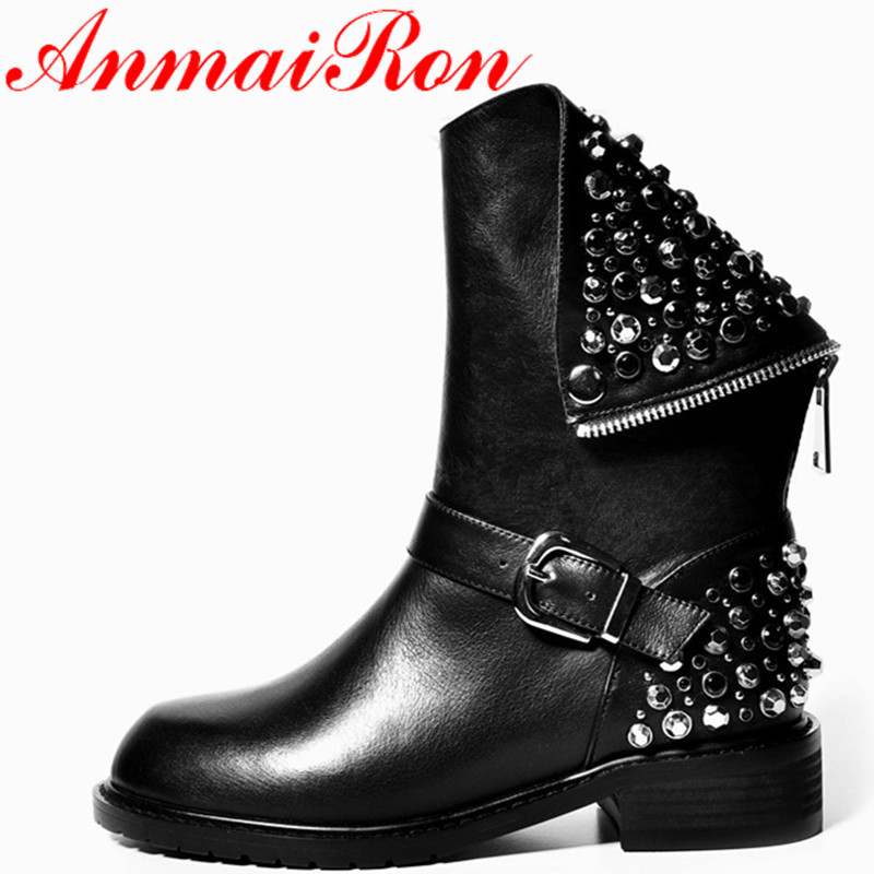 ФОТО ANMAIRON New Full Genuine Leather Classic Black Boots Shoes Mid-calf Boots Winter Warm Shoes Size 34-39 Motorcycle Boots Shoes