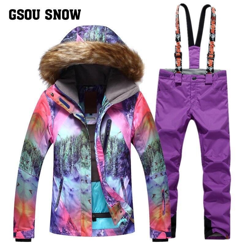 GSOU SNOW 2017 nouvelle combinaison de Ski d'hiver pour femmes en plein air coupe-vent chaud épaissi imperméable respirant veste de Ski + pantalon de Ski