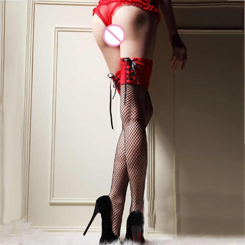 Черный, красный, розовый повязки для женщин сексульные кружевные чулки ажурные чулки для сетчатый топ чулки с эластичным бортом белье плотно высокие чулки 001