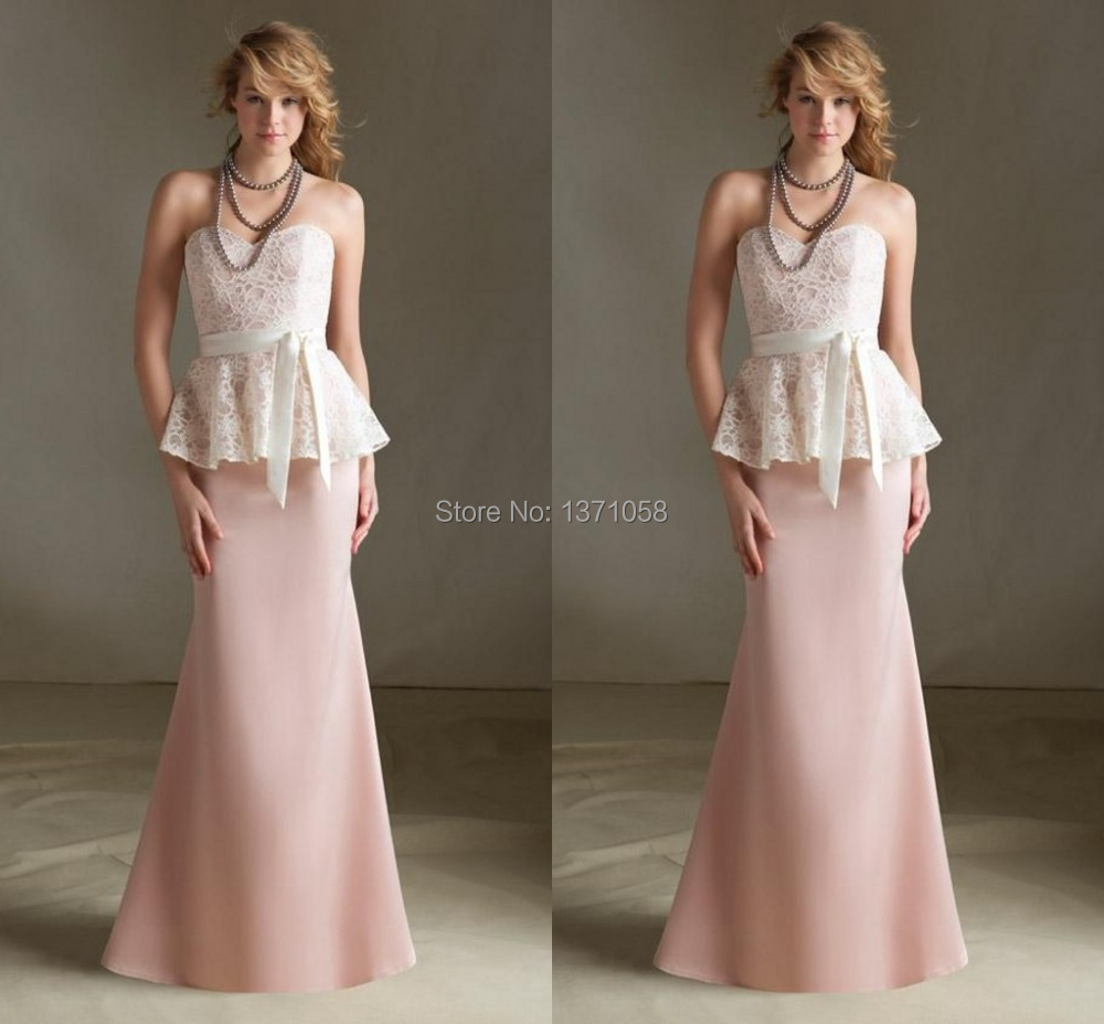 Online get cheap peplum dress bridesmaids aliexpress 2017 hot sale lovely bridesmaid dress with peplum bow lacechiffon floor length sexy sheath formal dress custom made ombrellifo Gallery