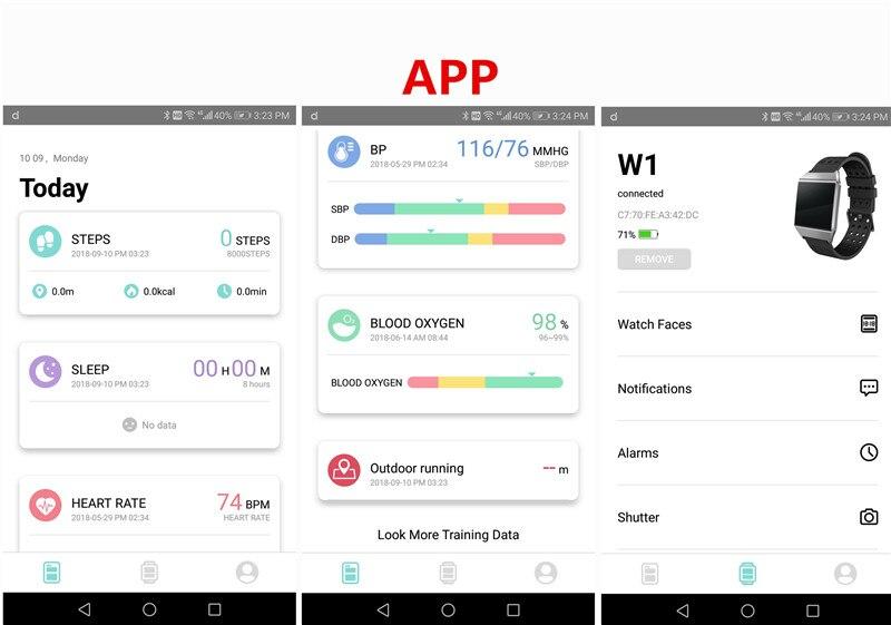W1 Smart Bracelet Blood Pressure Measurement Color Screen Fitness Tracker Watch Waterproof IP68 Heart Rate Monitor GPS Tracker 14