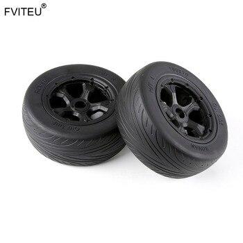 FVITEU Rubber On-road Wheel Tire set Fit 1/5 Losi 5ive T Rovan LT Truck BAJA 4WD/SLT