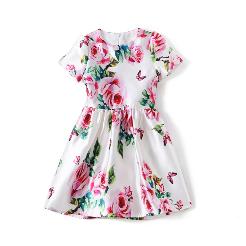 Domeya Family Matching Outfits Summer Floral Baby Girls Dress Children Rose Print Princess Dresses European Style for 4y-8y 2pcs ruffles newborn baby clothes 2017 summer princess girls floral dress tops baby bloomers shorts bottom outfits sunsuit 0 24m