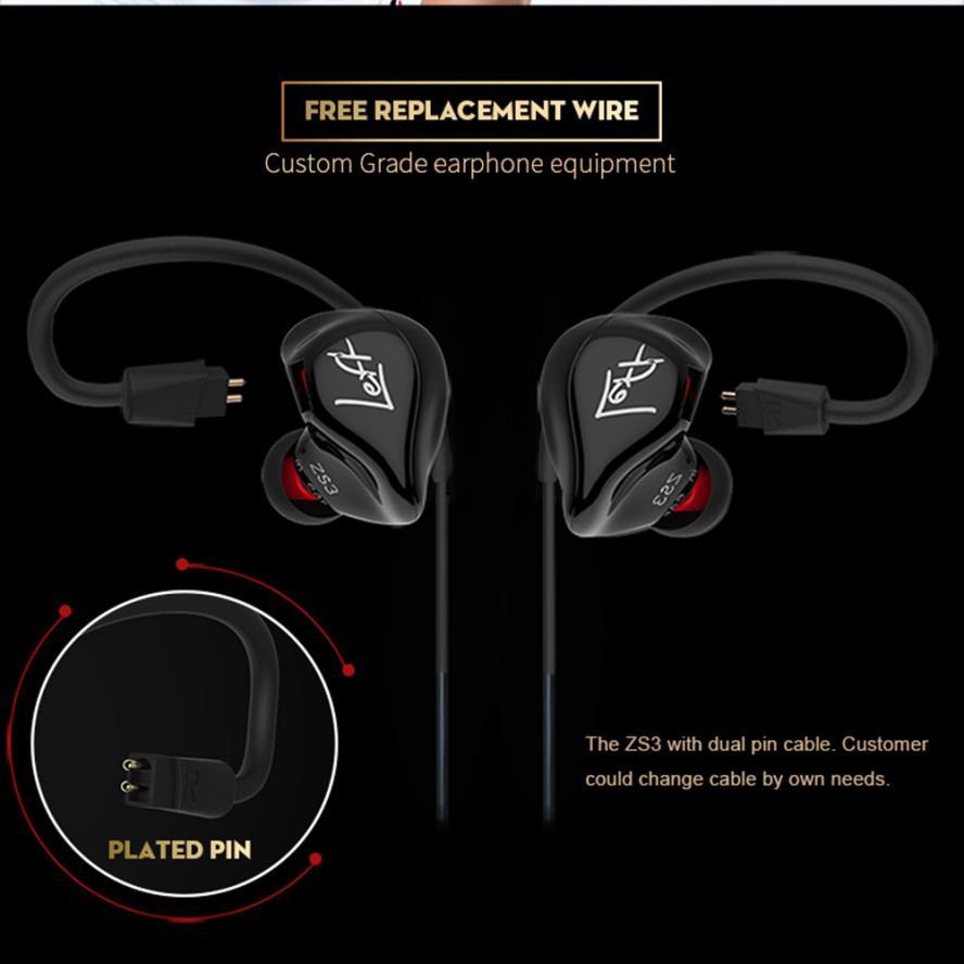 KZ ZS3 Wear Earphone Headset Double Bass HIFI  In-Ear Earphone Phone Headset sport headphone fone de ouvido drop shopping