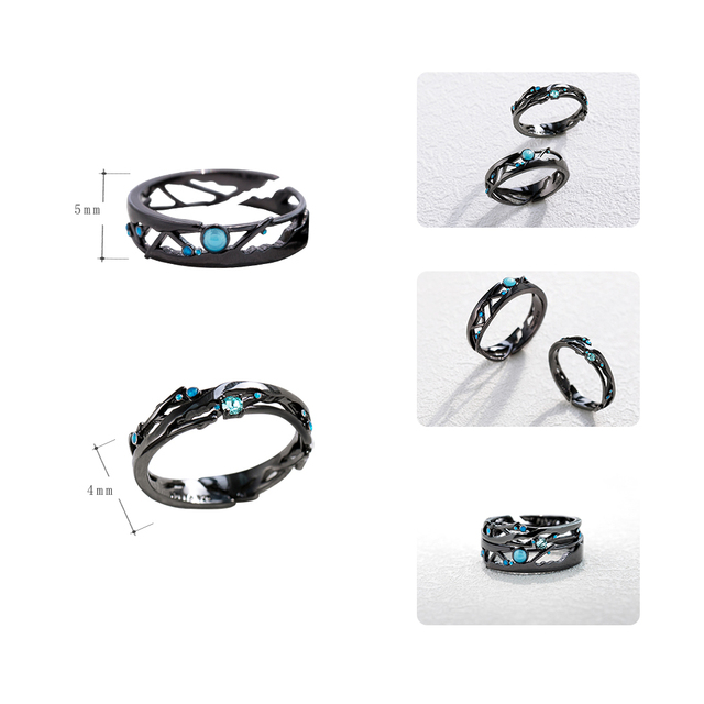 Thaya CZ Milky Way Black Rings Blue Bright Cubic Zirconia Rings 925 Silver Jewelry for Women Lover Vintage Bohemian Retro Gift 4
