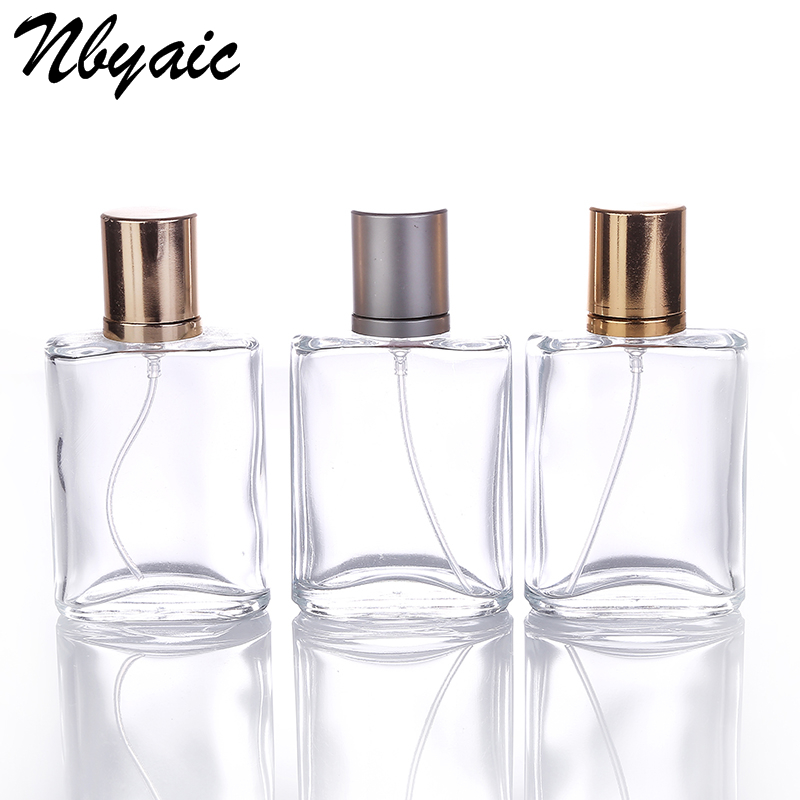 Nbyaic 1Pcs 30ml High-end Transparent Glass Perfume Bottle Gold And Gray Cover Electrochemical Aluminum Sprinkler Perfume Bottle