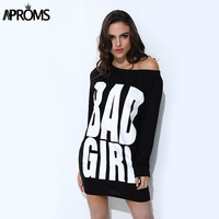Autumn Fall Bad Girl Letters Print T Shirt Dress Women Gray Black Long Sleeve Loose Tunic