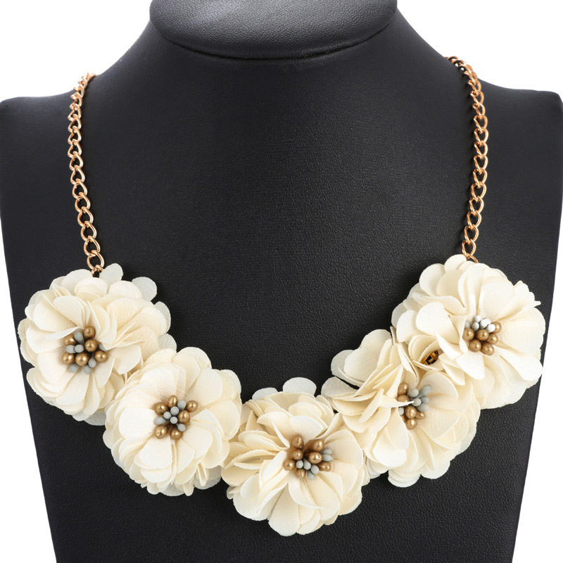 2019 Fashion Women Chocker Collar Necklace Statement Necklaces & Pendants Crystal Beads Necklace For Women Summer Flower Jewelry