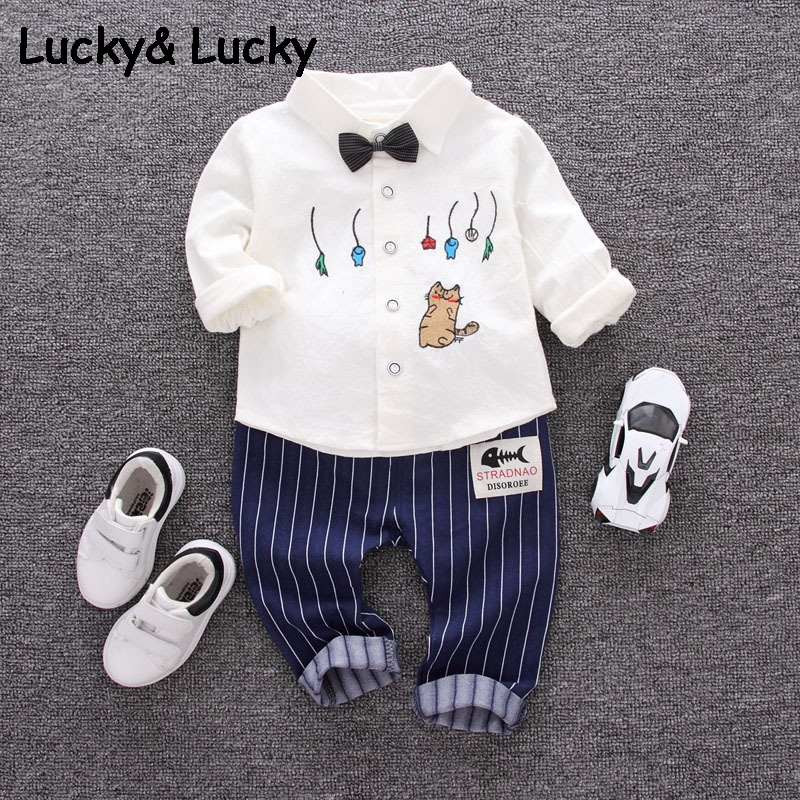 Baby clothes long sleeve cartoon printed shirt with bow white shirt with striped pants boys clothes hot sale 2pcs/set fall halloween clothes cutest pumpkin short sleeve orange black sequins suit children boutique long pants with matching bow set