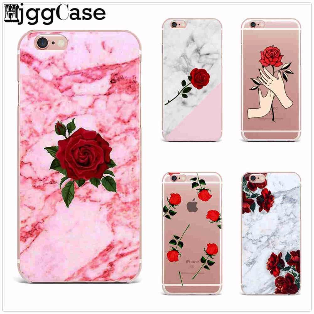Rosa Marmor muster Rose Pfingstrose TPU weiche Silikonabdeckung für iPhone X 10 7 6 6 s plus 8 plus 5 5 s softphone Fälle Abzudecken Capa Coque