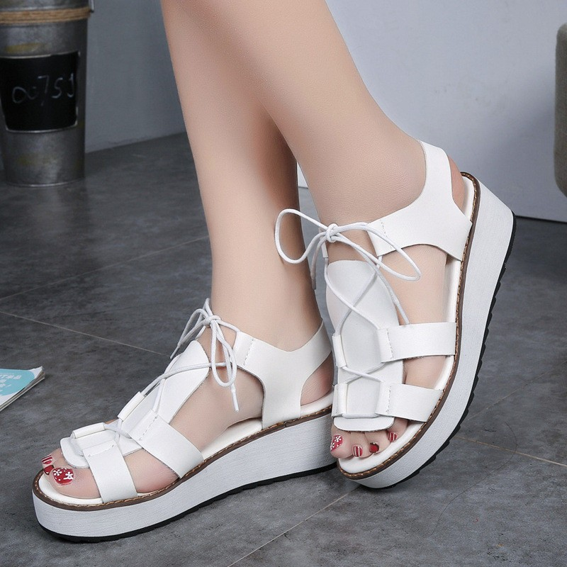 Hot Sale New Spring Summer Fashion Sandals Thick Soled Shoes Lace-up Black White Women sandals HSD08  (3)