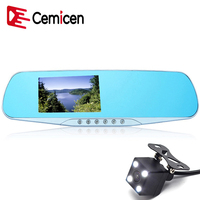 Cemicen 4 3 Inch Night Vision Car Dvr Detector Camera Blue Review Mirror Digital Video Recorder