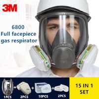 15/17 In 1 3M 6800 Gas Mask Full Face Respirator Air Filters Welding Spraying Chemical Laboratory Safety Worker Mask