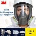 Máscara de Gas 15/17 en 1 3 M 6800 respirador facial completo filtros de aire de soldadura pulverización química de laboratorio de seguridad máscara de trabajador