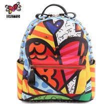 ROMERO BRITTO Cool Wild Hot Sales New Female Cartoon Graffiti Backpacks School Bags Travel Rivets Male Fashion Backpack