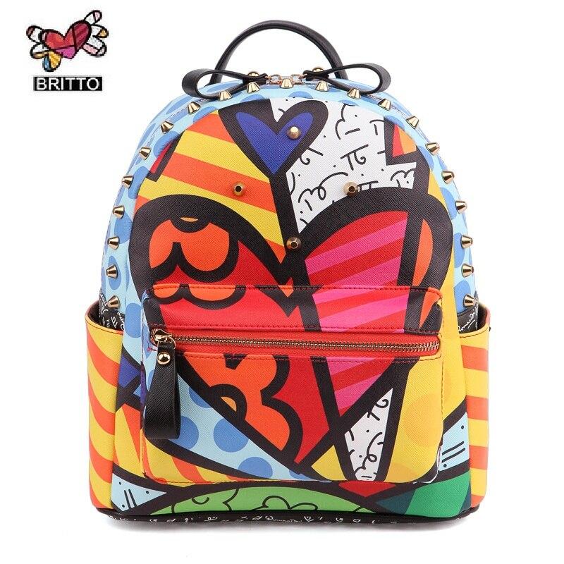 ROMERO BRITTO Cool Wild Hot Sales New Female Cartoon Graffiti font b Backpacks b font School