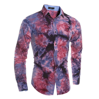 2017 Autumn New 3D Tie Dye Print Men Dress Shirts Fashion Casual Slim Shirt Society Business