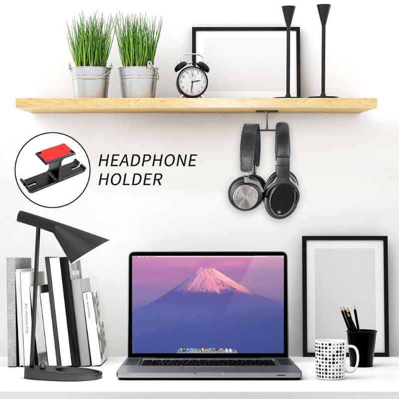 Universal Aluminium Alloy Headphone Stand 2 in 1 Headset Hanger Holder Bracket Wall Hook Metal Earphone Rack Mount