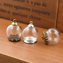 5set 20*15mm hollow glass globe with setting base beads cap set orb vials pendant bottle jewelry