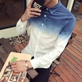 Autumn new men shirt gradient color long-sleeved plus size Slim was trendy men's free shipping