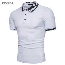 FFXZSJ Verão Camisa Pólo Branca de Manga Curta dos homens Euro Tamanho  S-2XL Moda 2018 Camuflagem Dos Homens Camisas Polo Impres. 769863cd1b0af