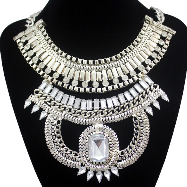 Antique Gold Egypt Cleopatra Snake Box Chain Crystal Statement Bib Necklace Jewelry 2017 New