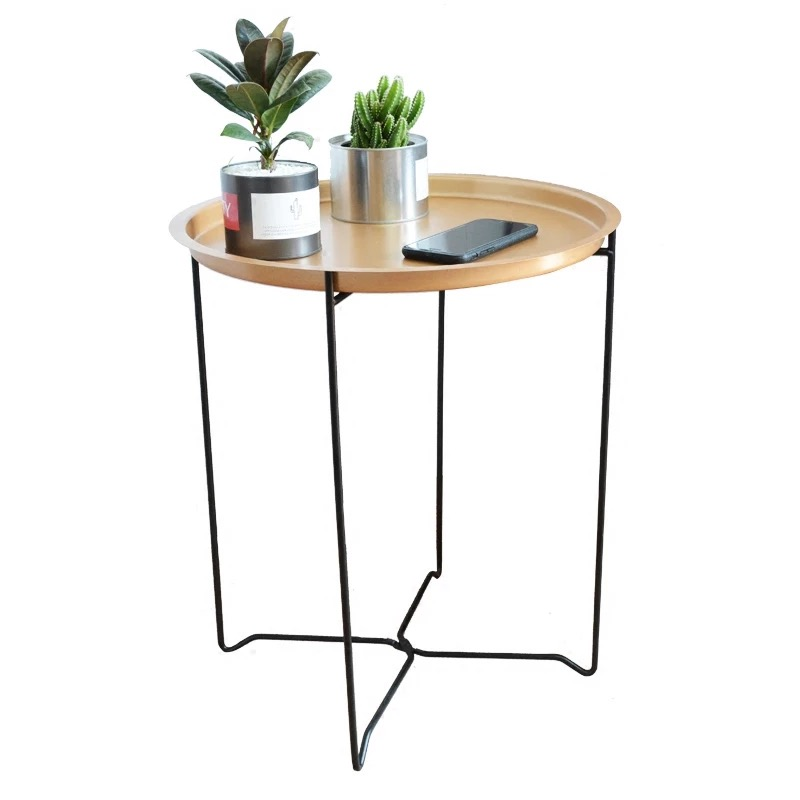 Nordic Golden Black Wrought IronTray Small Table Simple sofa edge wrought iron tray table coffee folding small round table simple small sized table living room sofa side nordic wrought iron coffee table creative small round wholesale 35 38cm