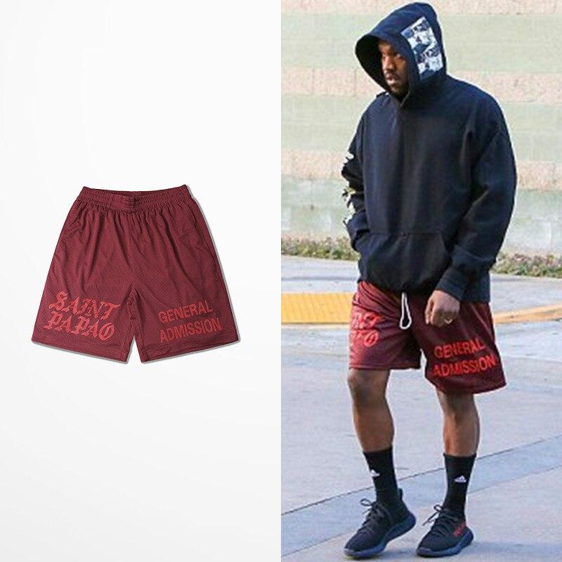 7ae308d136f62 Casual Calabasas Shorts Men Kanye West Saint Pablo Seobean Short Hip ...