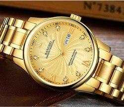 39mm Sangdo zegarki luksusowe automatyczny ruch własny wiatr wysokiej jakości zegarek biznesowy Auto data złoty kolor tarczy zegarek męski 58S