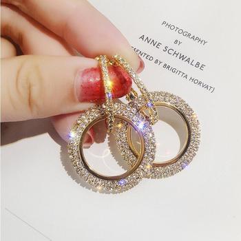 Nowe wzornictwo kreatywne Biżuteria wysokiej klasy eleganckie Kryształowe kolczyki okrągłe złoto i srebrne kolczyki ślubne kolczyki dla kobiet tanie i dobre opinie Drop Earrings Moda Trendy wproduby Miedzi Crystal